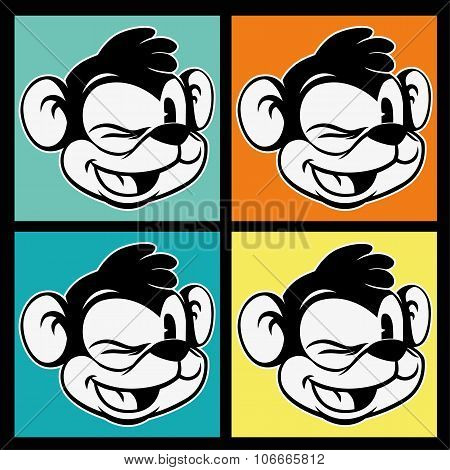 vintage toons. four images of retro cartoon character smiley and winks monkey on the colorful backgr