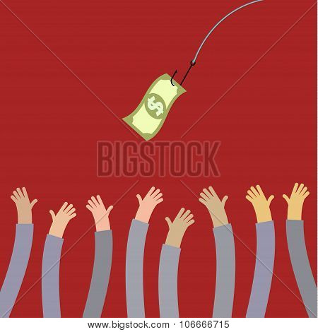 Hooked money and reaching hands