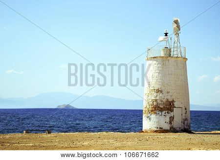 lighthouse in Aegina island Greece