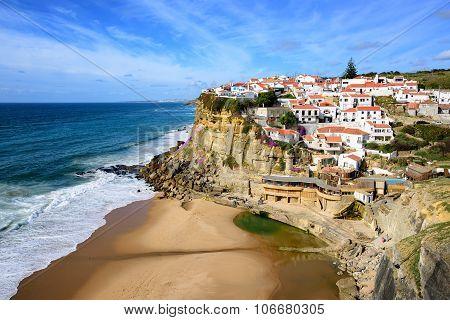 Azenhas do Mar a little fishermen village on atlantic coast near Cabo da Roca Portugal poster