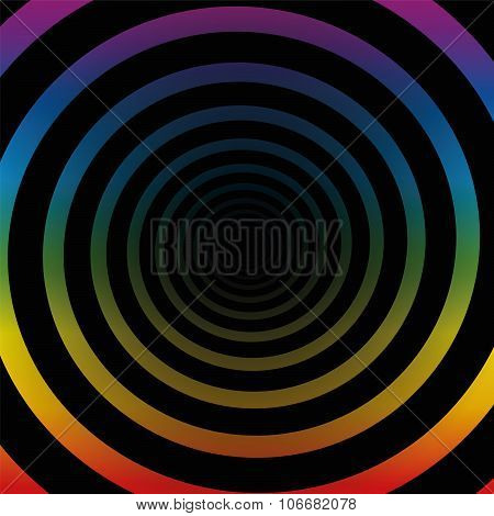 Spiral Tunnel Rainbow Colors Three Dimensional