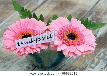 Dank je wel (which means thank you in Dutch) with pink  gerbera daisies