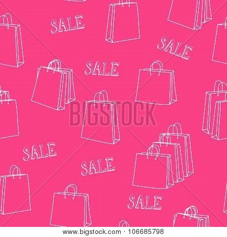 Sale Shopping Bags Seamless Pattern
