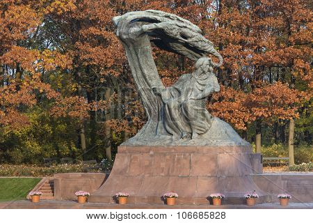 Old Bronze Monument Of Chopin In Lazienki Park In Warsaw
