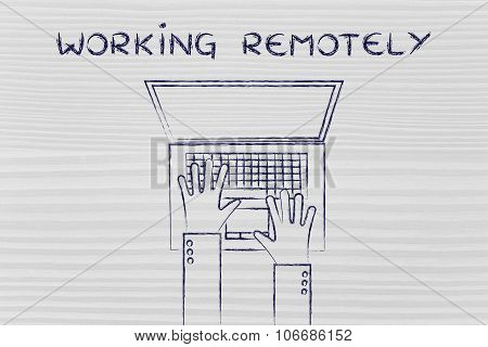 Hands Typing On Laptop Keyboard, With Text Working Remotely