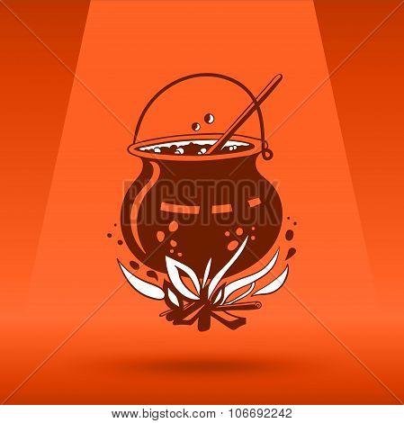Cartoon Halloween witch's cauldron