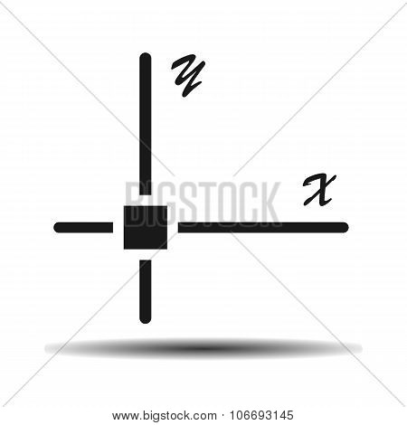 mathematical coordinates flat vector icon on light background with shadow poster