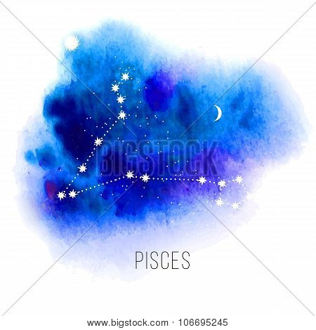 Astrology sign Pisces on watercolor background