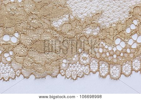 The Macro Shot Of The Pale Beige Lace Texture Materia