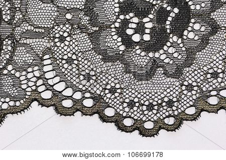 The Macro Shot Of The Black Flower Lace Texture Materia