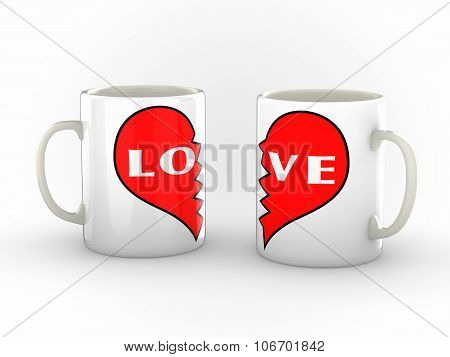 Coffee Mugs Of  A Broken Hearted Couple