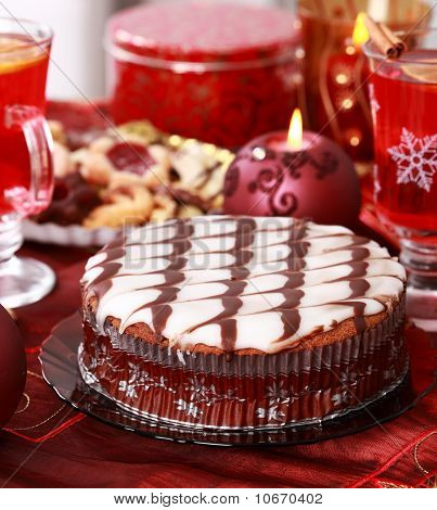 Marchpane Cake With Wine Punch And Cookies