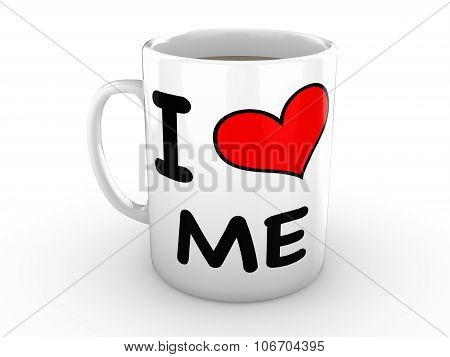 I Love Me - Red Heart On A White Mug
