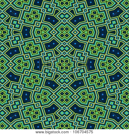 Turquoise green blue seamless floral cubist pattern