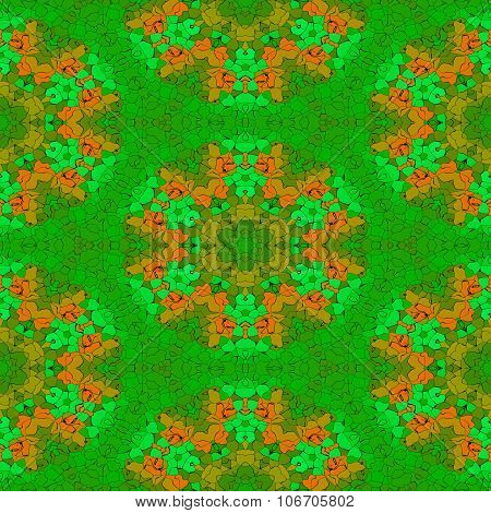 Abstract seamless green orange decorative floral pattern