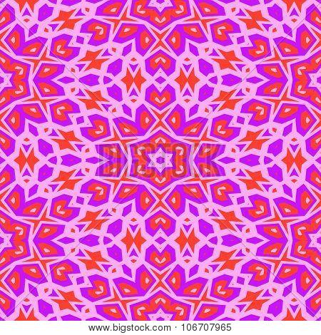 Pink orange floral wallpaper in art deco style