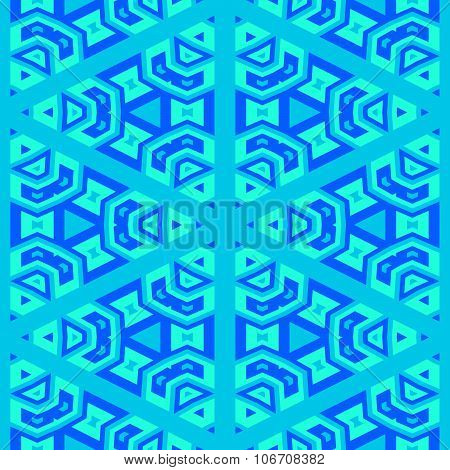 Decorative regular seamless blue snowflake pattern