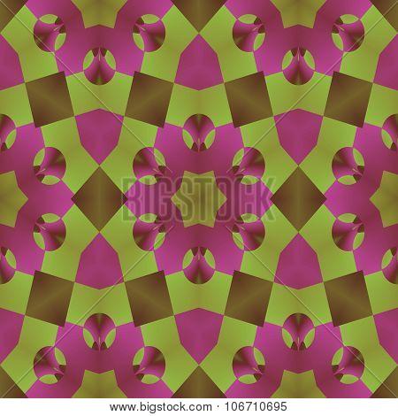 Olive green and light purple kaleidoscope seamless herbal pattern