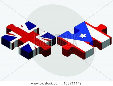 United Kingdom and Puerto Rico Flags in puzzle isolated on white background poster