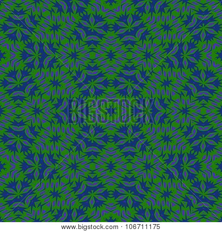 Stylized blue green seamless floral pattern
