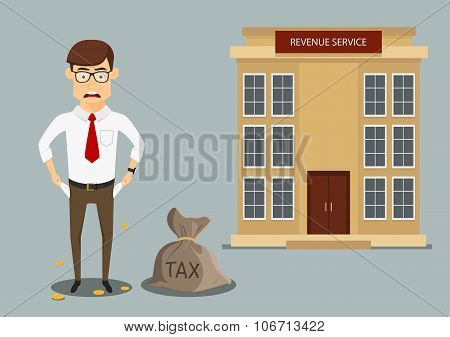 Businessman with empty pockets after paying taxes
