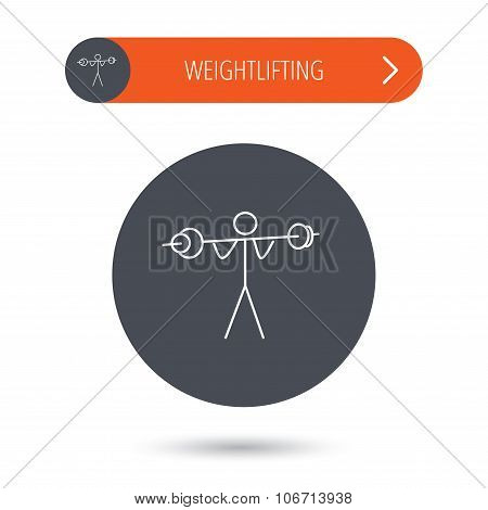 Weightlifting icon. Heavy fitness sign. Muscular workout symbol. Gray flat circle button. Orange button with arrow. poster