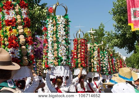Parede of paper and bread scuptures, carried on the head this parade is called
