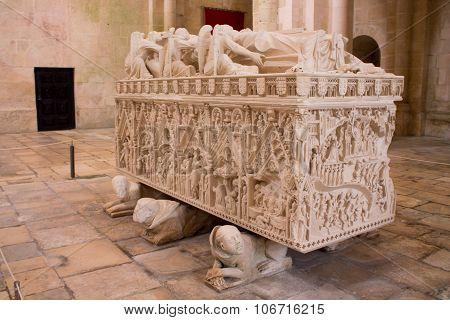 Tombe of a portugues king displayed in Monestary  Alcobaça, the all monestary is classified as world heritage since 2010