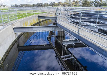 Close-up of sedimentation tank in a sewage treatment plant