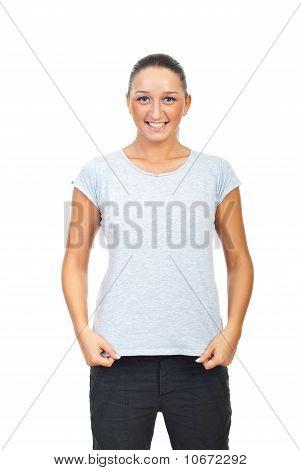 Cute Female In Grey Cotton T-shirt
