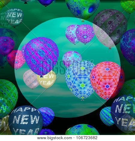 Decorative party air balloons pattern with inscription Happy New Year and abstract patterns.