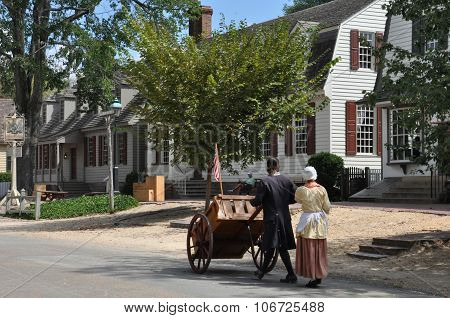 WILLIAMSBURG, VA - SEP 6: Colonial Williamsburg in Virginia, as seen on Sep 6, 2015. Colonial Williamsburg is a living-history museum with exhibits of restored or re-created buildings.