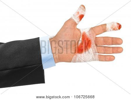 Hand with blood and bandage isolated on white background