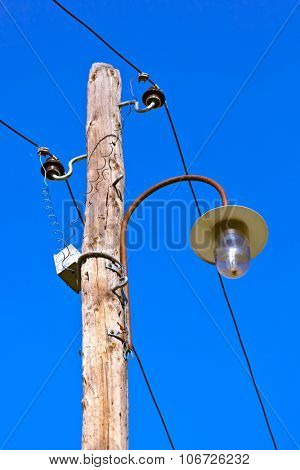 Vintage electric pole in village Drvengrad Mecavnik - Serbia - architecture travel background poster
