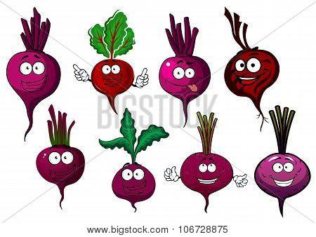 Cartoon isolated purple beet vegetables