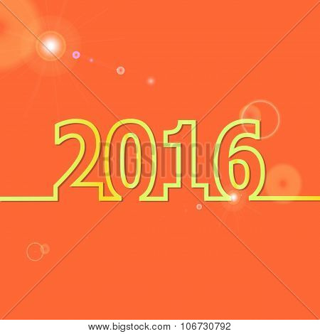 2016 Happy New Year On Orange Background