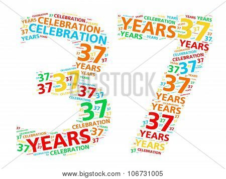 Colorful word cloud for celebrating a 37 year birthday or anniversary