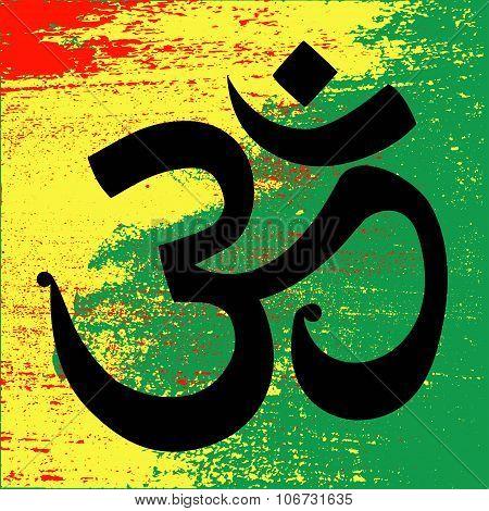 OHM unity symbol on Rastafarian colors of Jamaica.