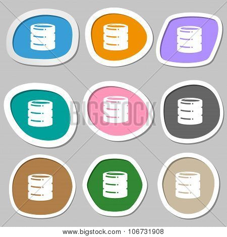 Hard Disk, Date Base Icon Symbols. Multicolored Paper Stickers. Vector