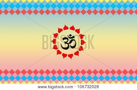 Holy Ohm sign on Cool BG, Hindu Devotional