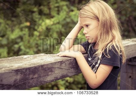 Portrait Of Sad Blond Little Girl