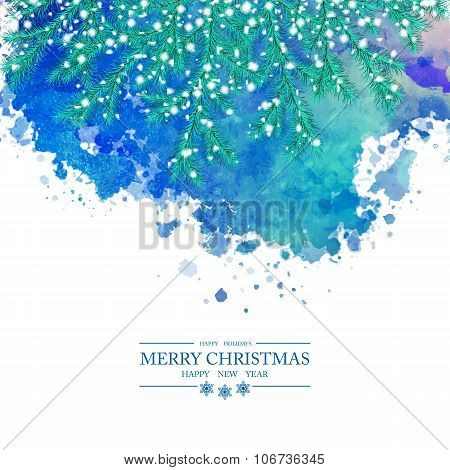 Christmas Watercolor Vector Background