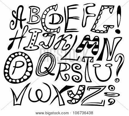 illustration black on white background handwritten English alphabet poster