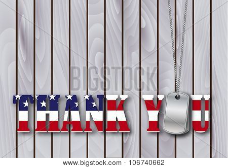military dog tag thank you with flag