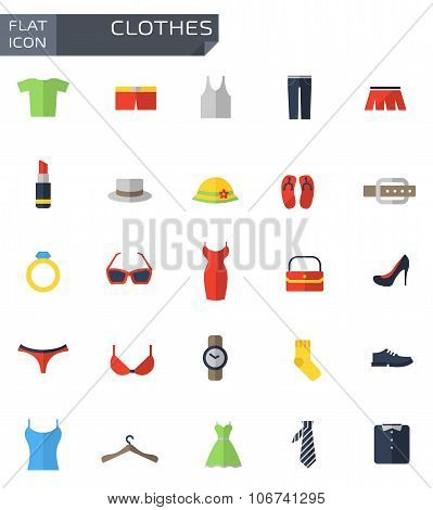 Vector Flat Clothes Icons Set