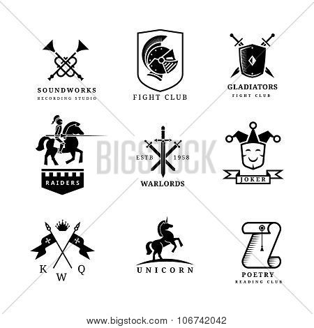 Vintage sword vector badges and labels or logo set. Heraldry elements