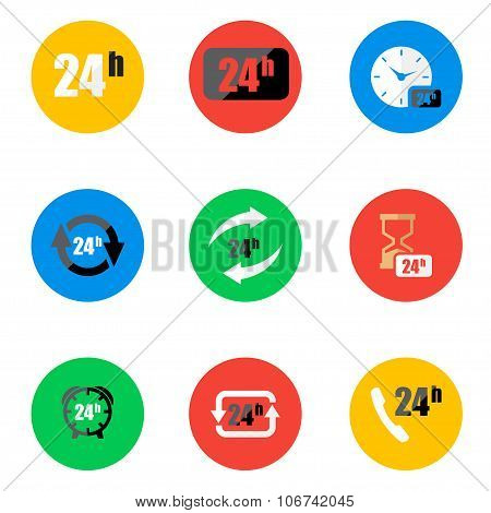Vector flat 24 hours icons set on color background. Or signboard for your busines. 24 hours Icon Object 24 hours Icon Picture 24 hours Icon Image 24 hours Icon Graphic - stock vector poster