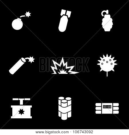 Vector White Bomb Icon Set