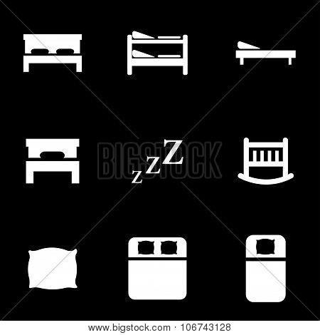 Vector White Bed Icon Set