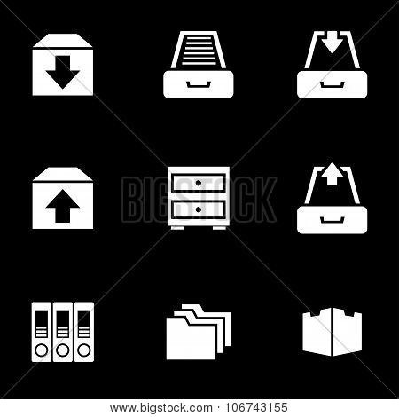 Vector white archive icon set. Archive Icon Object Archive Icon Picture Archive Icon Image Archive Icon Graphic Archive Icon JPG Archive Icon EPS Archive Icon AI - stock vector poster